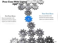Stock Photo Blue Gear In Center Of Black Gears PowerPoint Slide