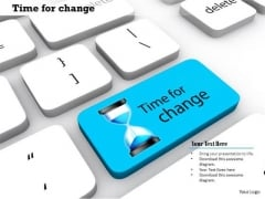 Stock Photo Blue Key Showing With Time For Change PowerPoint Slide