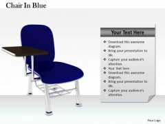 Stock Photo Blue Office Chair On White Background PowerPoint Slide