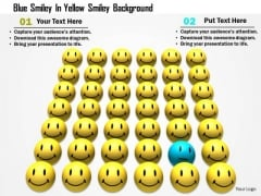 Stock Photo Blue Smiley In Yellow Smiley Background PowerPoint Slide