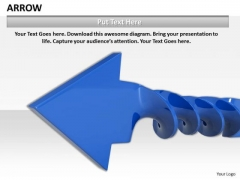 Stock Photo Blue Twisted Arrow For Growth PowerPoint Slide