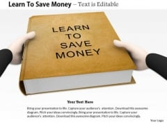 Stock Photo Book On Learn To Save Money PowerPoint Slide