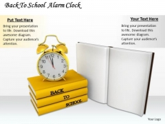 Stock Photo Books And Alarm Clock For Back To School PowerPoint Slide