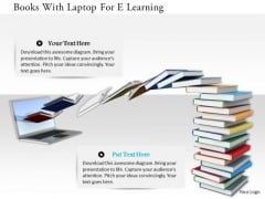 Stock Photo Books With Laptop For E Learning PowerPoint Slide