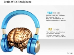 Stock Photo Brain With Headphone PowerPoint Slide