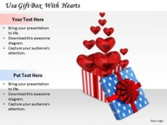Stock Photo Business Concepts Usa Gift Box With Hearts Images
