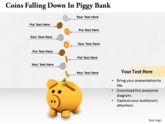 Stock Photo Business Growth Strategy Coins Falling Down Piggy Bank Pictures Images