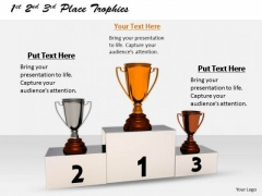 Stock Photo Business Level Strategy 1st 2nd 3rd Place Trophies Pictures Images