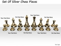 Stock Photo Business Management Strategy Set Of Silver Chess Pieces Best