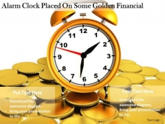 Stock Photo Business Policy And Strategy Alarm Clock Placed On Some Golden Financial Clipart