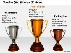 Stock Photo Business Strategy Plan Trophies For Winners Of Game
