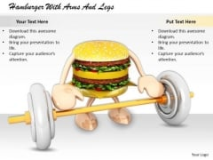 Stock Photo Business Strategy Review Hamburger With Arms And Legs Icons