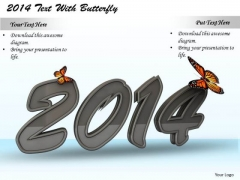 Stock Photo Butterflies On Year 2014 Graphic PowerPoint Slide