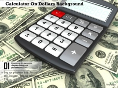 Stock Photo Calculator On Dollars Background PowerPoint Slide