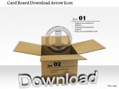 Stock Photo Card Board Download Arrow Icon PowerPoint Slide