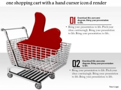 Stock Photo Cart With Red Thumbs Up Symbol Hand Cursor PowerPoint Slide