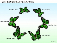 Stock Photo Circle Of Beautiful Green Butterflies PowerPoint Slide
