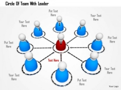 Stock Photo Circle Of Team With Leader PowerPoint Slide