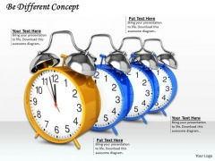 Stock Photo Clocks In Queue With Be Different Concept PowerPoint Slide