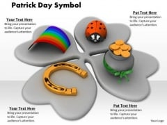 Stock Photo Clover Leaf With Patricks Day Symbols PowerPoint Slide