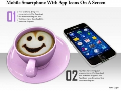 Stock Photo Coffee Cup With Smiley Face And Phone PowerPoint Slide