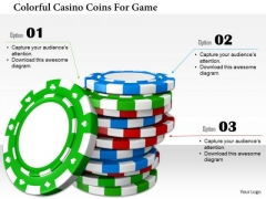 Stock Photo Colorful Casino Coins For Game PowerPoint Slide