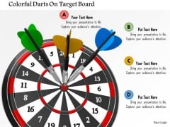 Stock Photo Colorful Darts On Target Board PowerPoint Slide