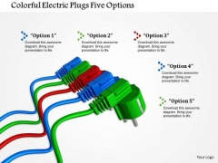 Stock Photo Colorful Electric Plugs Five Options PowerPoint Slide