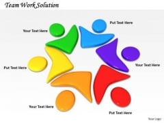 Stock Photo Colorful Human Icon For Team Work Pwerpoint Slide