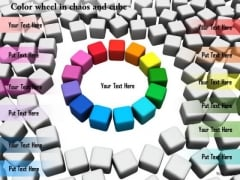 Stock Photo Colorful Wheel In Cube Chaos PowerPoint Slide