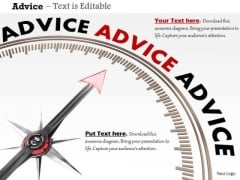 Stock Photo Compass Arrow On Advice Word PowerPoint Slide