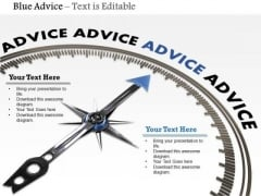 Stock Photo Compass Arrow On Blue Advice Word PowerPoint Slide