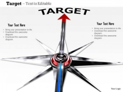 Stock Photo Compass Arrow On Target PowerPoint Slide