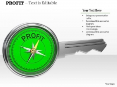 Stock Photo Compass Key Of Profit PowerPoint Slide