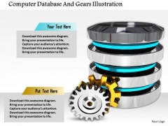 Stock Photo Computer Database And Gears Illustration PowerPoint Slide
