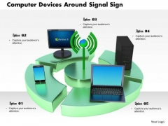 Stock Photo Computer Devices Smartphone Around Signal Sign PowerPoint Slide