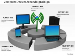 Stock Photo Computer Devices Smartphone Globe Signal Sign PowerPoint Slide