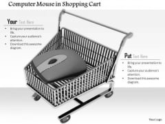 Stock Photo Computer Mouse In Shopping Cart For Online Shopping PowerPoint Slide