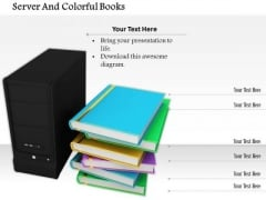 Stock Photo Computer Server And Colorful Books Pwerpoint Slide