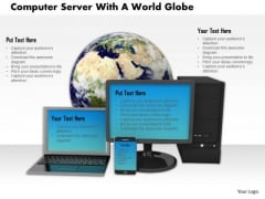 Stock Photo Computer Server Smartphone With The World Globe PowerPoint Slide