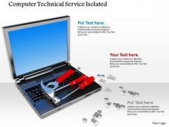 Stock Photo Computer Technical Service Tools Laptop Bolts PowerPoint Slide