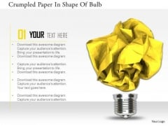 Stock Photo Crumpled Paper In Shape Of Bulb PowerPoint Slide