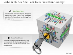 Stock Photo Cube With Key And Lock Data Protection Concept PowerPoint Slide