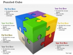 Stock Photo Cube With Multicolor Puzzles PowerPoint Slide