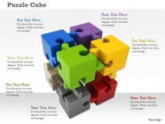 Stock Photo Cubes Of Colorful Puzzle Pieces PowerPoint Slide