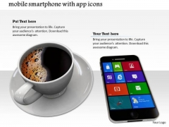 Stock Photo Cup Of Black Coffee With Smartphone PowerPoint Slide