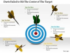 Stock Photo Darts Failed To Hit Target With One On The Bulls Eye PowerPoint Slide