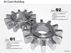 Stock Photo Design Of 3d Silver Gears PowerPoint Slide