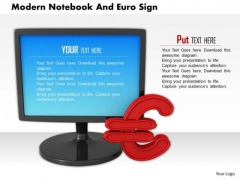 Stock Photo Desktop With Euro Symbol Finance Technology PowerPoint Slide