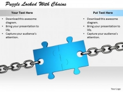 Stock Photo Develop Business Strategy Puzzle Locked With Chains Images